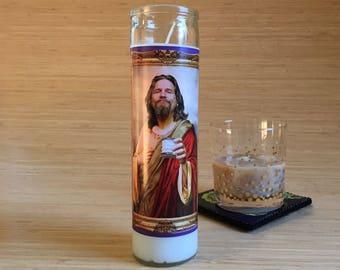 Big Lebowski Dude Celebrity Prayer Candle - Movie Decor - Humor - Parody Art - 7 Day Candle