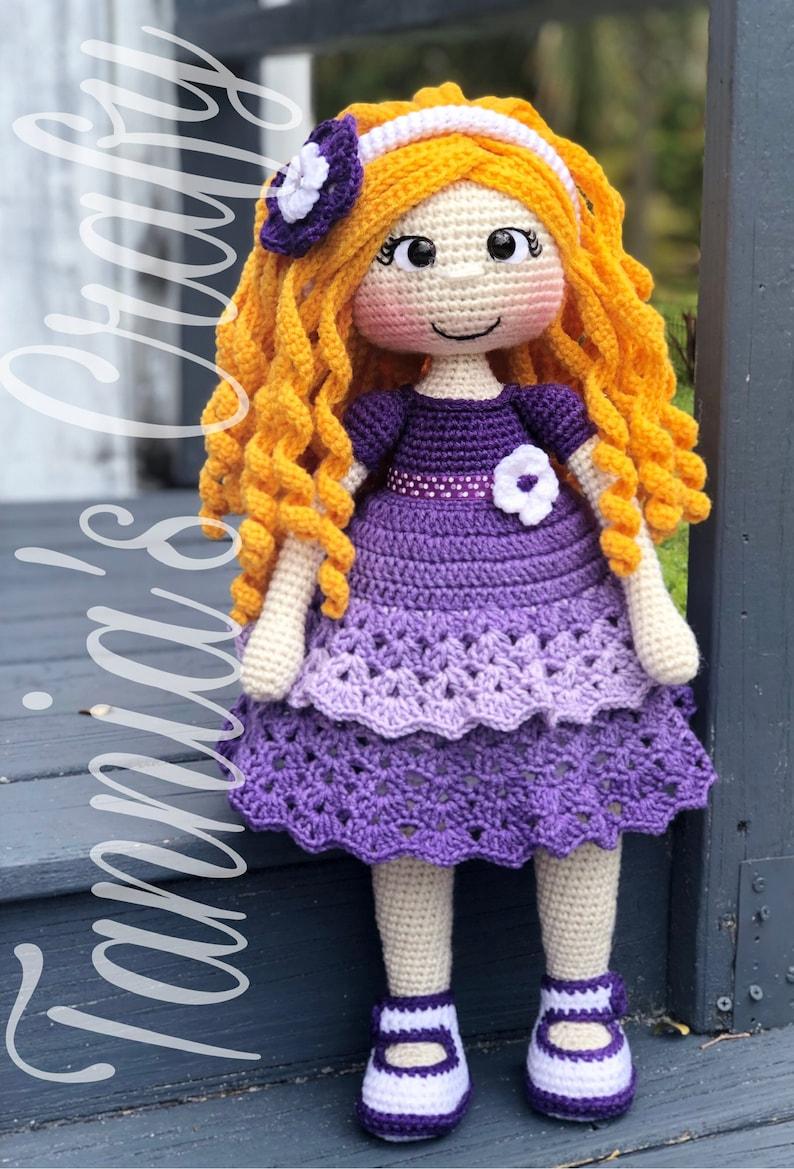 e2cc065d23d Crochet Sarahi Doll Purple dress Amigurumi Doll Crochet | Etsy