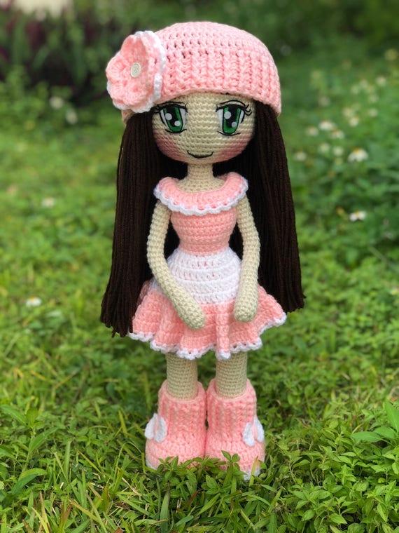 Häkeln Sie Amigurumi Puppe Puppe Judith Doll Rosa Kleid Etsy