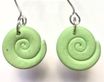 Green Polymer clay Spiral bead earrings on silver wire hook