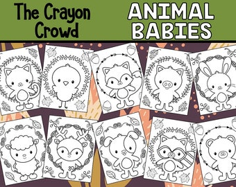 Animal Babies Coloring Page