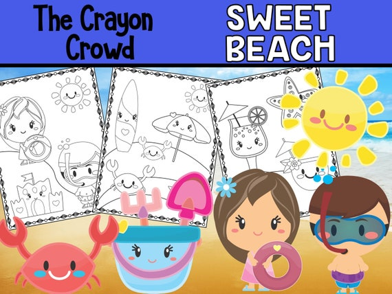 Sweet Beach and Birthday Party Summer Coloring Pages  The