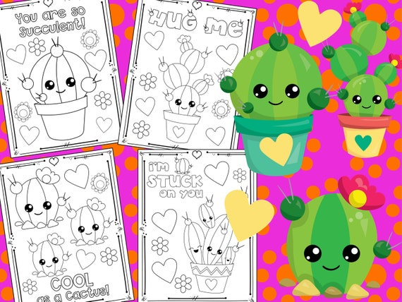 Cute Cactus Love and Birthday Party Coloring Pages  The