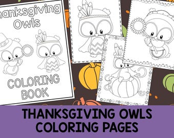 Thanksgiving Owls Coloring Book Pages - The Crayon Crowd, printable, party favors, Coloring book, Sheets, kids, pdf, fall, pilgrim