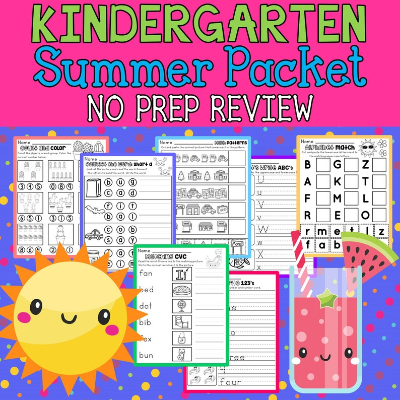 graphic relating to Kindergarten Packet Printable referred to as Kindergarten Summer time Evaluation Packet - About 100 Printable Math and ELA Webpages