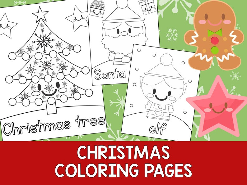 Christmas Coloring Book Pages The Crayon Crowd printable | Etsy