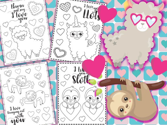 Valentine's Day Llamas and Sloths Coloring Pages  The
