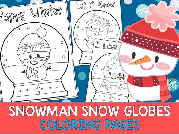 Snowman Snow globes Winter  Coloring Pages Editable  The