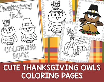 Cute Thanksgiving Owls Coloring Book Pages - The Crayon Crowd, printable, party favors, Coloring book, Sheets, kids, pdf, fall, pilgrim