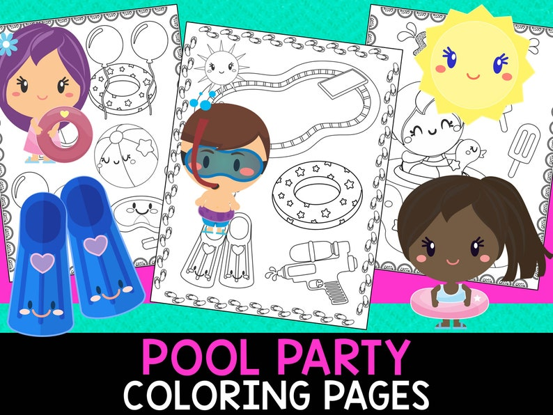 Pool Party Summer Coloring Pages The Crayon Crowd Etsy
