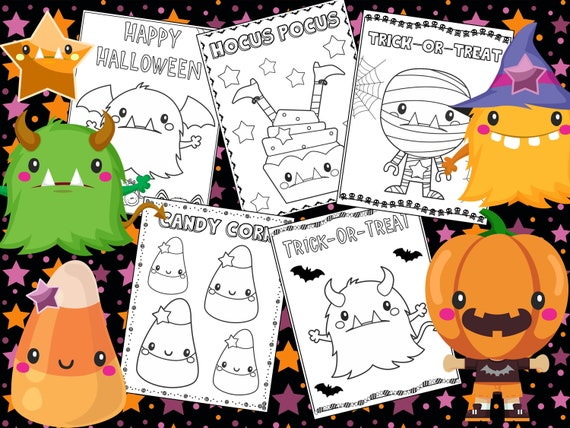 Editable Halloween Monsters Coloring Pages The Crayon Crowd Etsy