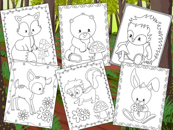 Woodland Friends Coloring Pages  The Crayon Crowd printable