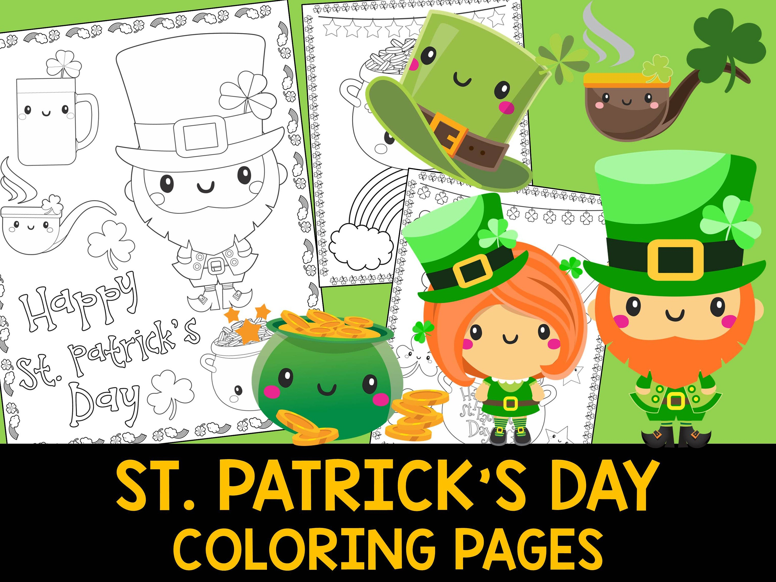 St. Patrick\'s Day Coloring Book Pages The Crayon Crowd | Etsy