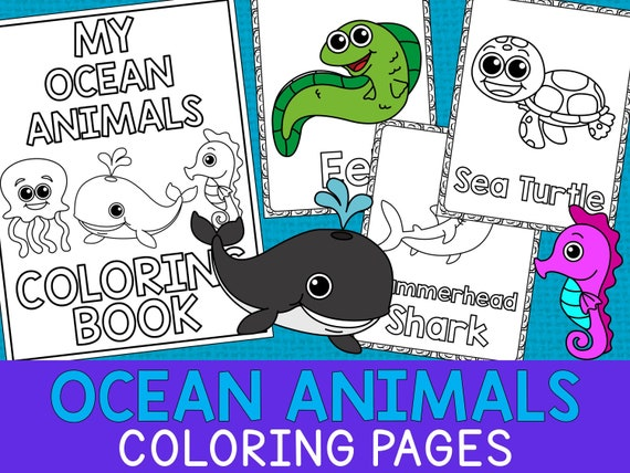 - Ocean Animals Coloring Book Pages The Crayon Crowd Etsy