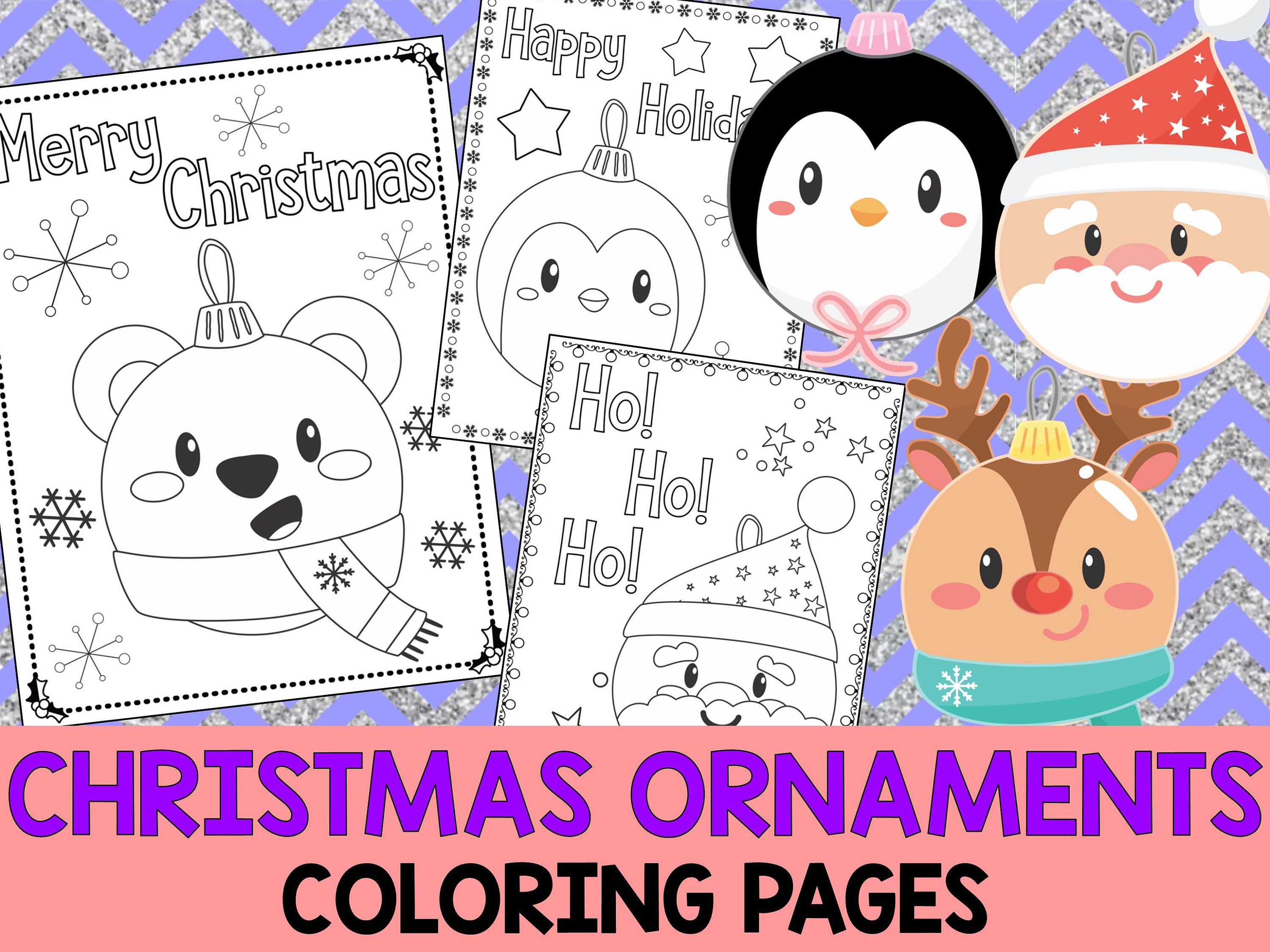 Kawaii Christmas Ornaments Coloring Book Pages The Crayon Etsy