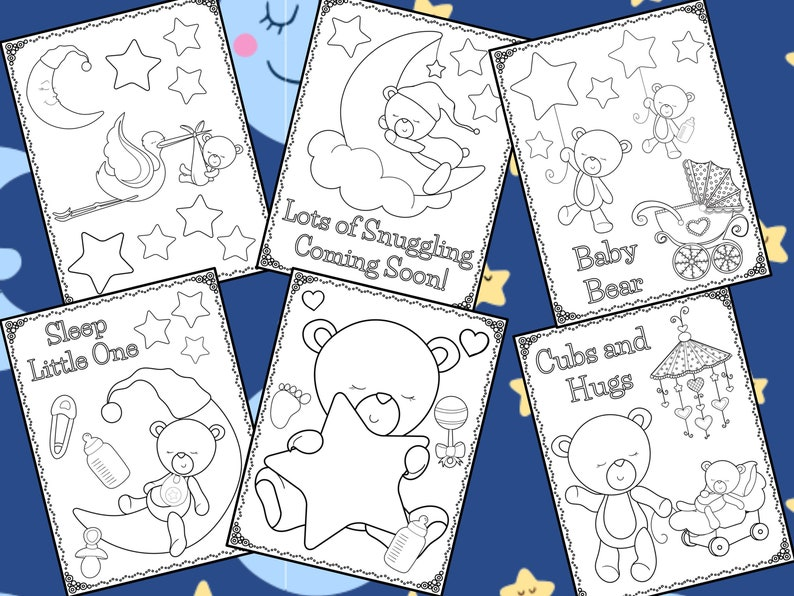 Newborn Baby Bear Shower Coloring Pages The Crayon Crowd Kids Birthday Party Favors Digital Activity Baby Shower Bears