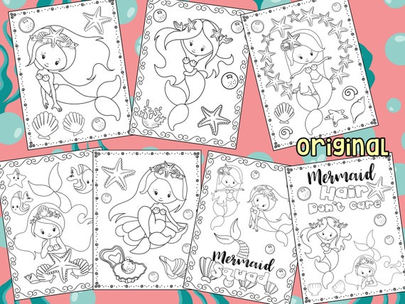 Editable Mermaid Coloring Pages PLUS Birthday Party Coloring
