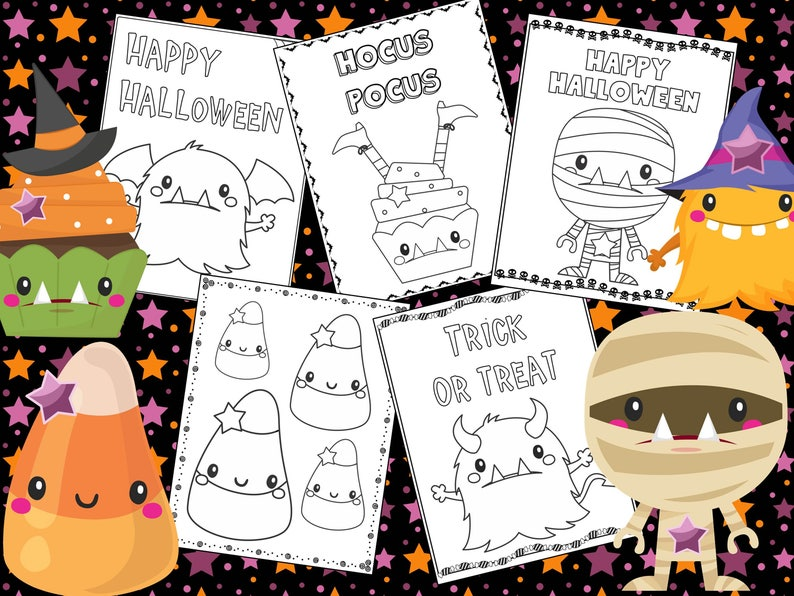 Halloween Coloring Pages The Crayon Crowd Monsters Cute Printable Party Party Favors Coloring Book Sheets Kids Pdf