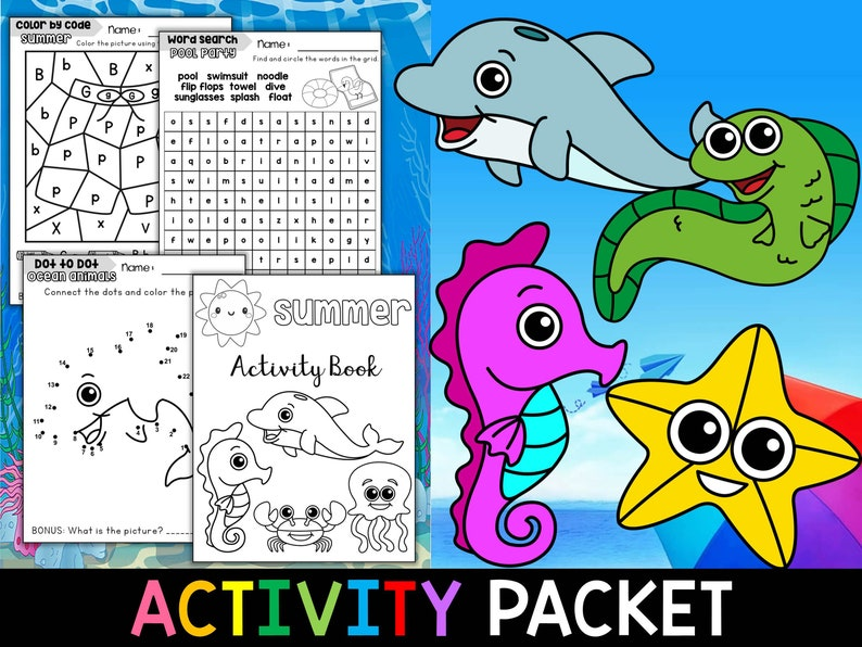 Summer Fun Activity Packet SET TWO Little Lotus Coloring ...