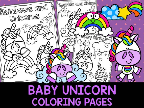 Baby Unicorn Coloring Pages The Crayon Crowd Unicorns Etsy