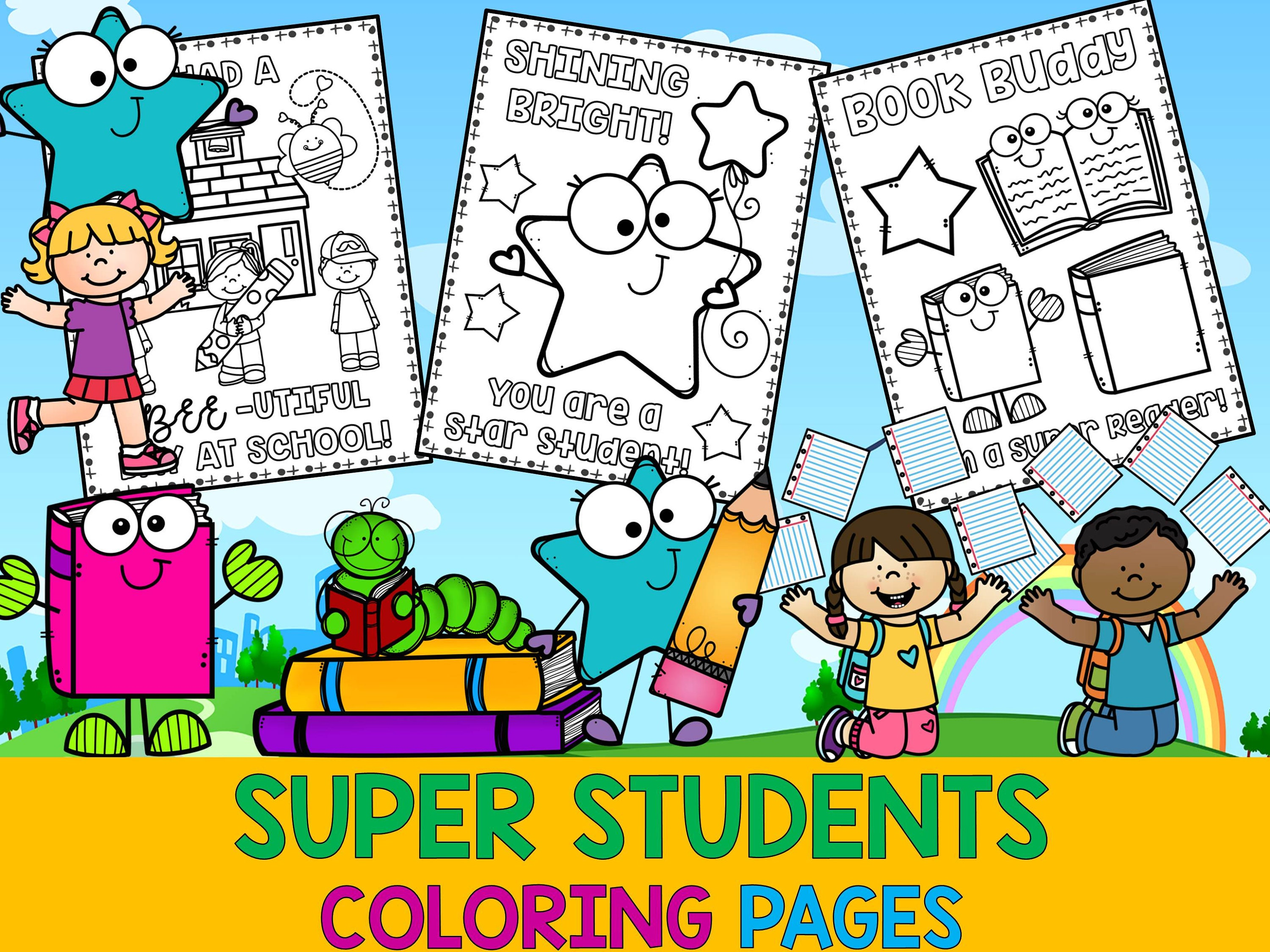 Super Students Coloring Pages The Crayon Crowd Kids book | Etsy