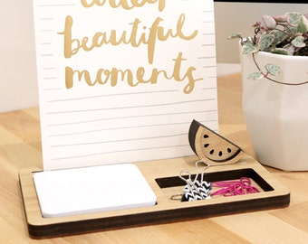 Photo Stand - Desk Organiser (2 tray) - Photo Holder, Desk Caddy, Memory Holder, Quote Display, made from Bamboo