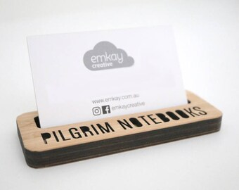 Business Card Holder, - Desk, Shop Front, personalised,  made from Bamboo