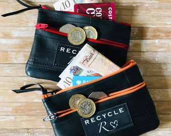 valve zipper reclaimed bicycle inner tube stash bag blue zip M recycled upcycled vegan pouch bike tyre +ASAP dispatch CYCLIST PURSE