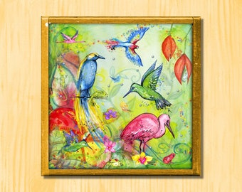 Exotic Aviary - Instant Downloadable Art Print Digital Wall Art Printable Tropical Art Home Decor
