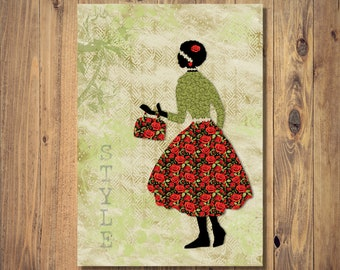 Fashion Collage Style Digital Print Instant Download, A4 Unframed Home Decor, Fashion Art Print, Collage Art, Silhouette Art, Fashion Gift