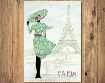 Fashion Collage Paris Digital Print Instant Download, A4 Unframed Home Decor, Fashion Art Print, Collage Art, Silhouette Art, Fashion Gift