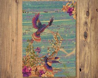 Humming Bird Digital Print Instant Download, A4 Unframed Home Decor, Humming Bird Wall Art, Humming Bird Gift, Art Print, Romantic Gift
