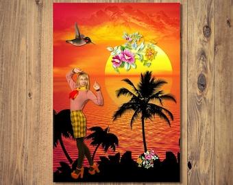 Sunset Digital Print Instant Download, A4 Unframed Home Decor, Surrealism, Fantasy Art, Collage Art, Tropical Island, Retro Fashion, Beach
