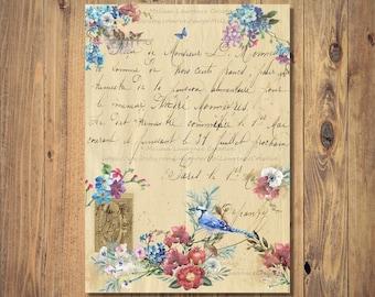 Vintage Letter Digital Print Instant Download, Unframed Printable Art, Blue Jay Wall Art, Blue Jay Gift, Vintage Art Print, Romantic Gift
