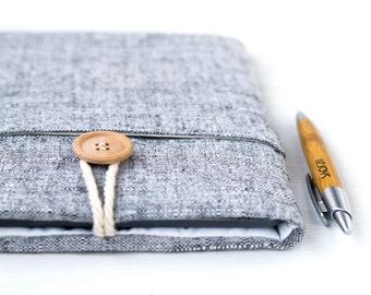 Macbook sleeve, Macbook 12 inch case, Apple Macbook 12 case, Laptop sleeve case, Padded Macbook bag, Macbook Air bag, Gray Linen Unisex
