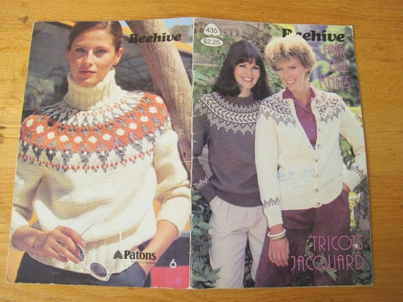 Patons Beehive Fair Isle Knits Nordic Style Chunky Sweater Etsy