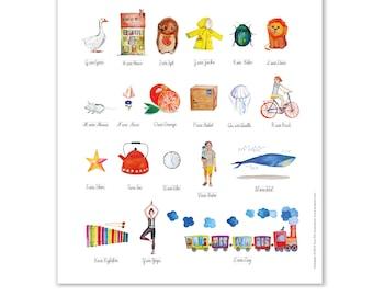 To Print - Illustrated German Alphabet, Alphabet Nursery Art, Animal Alphabet Print, ABC, Watercolor ABC, Nursery Alphabet Print, ABC Poster