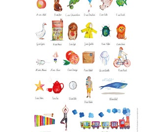 A4 Print Illustrated German Alphabet, Alphabet Nursery Art, Animal Alphabet Print, ABC, Watercolor ABC, Nursery Alphabet Print, ABC Poster