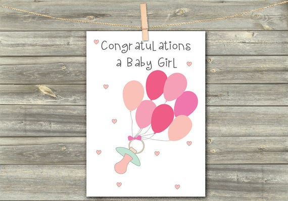 Baby congratulations digital card greeting cards baby girl etsy image 0 m4hsunfo