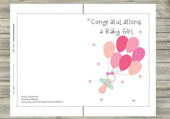Baby congratulations digital card greeting cards baby girl etsy 50 m4hsunfo