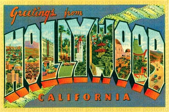 Hollywood Hollywood Postcard Hollywood Sign Hollywood Art | Etsy