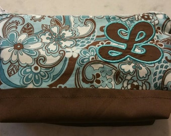Blue and Brown Embroidered Bag