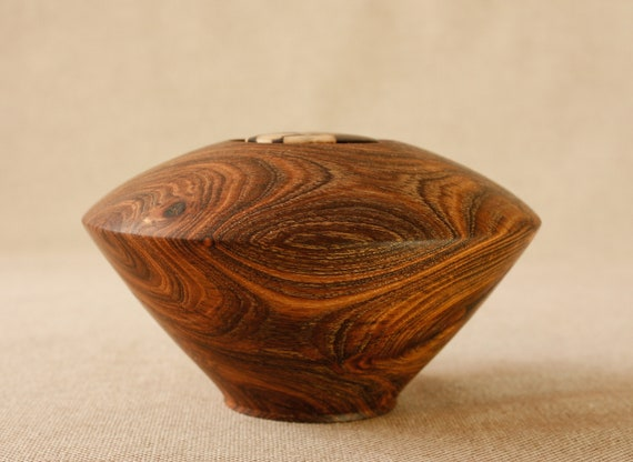almond wood bowl with repaired crack Kintsugi art home decor