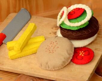 felt hamburger, felt food, kitchen toys ,play food, felt burger, miniature food, felt cheeseburger, Waldorf toy, Montessori toy