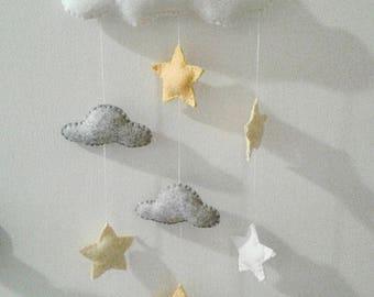 felt mobile, baby mobile, stars mobile, clouds mobile, baby shower gift, Christmas gift, nursery decor, custom mobile, gift for newborn