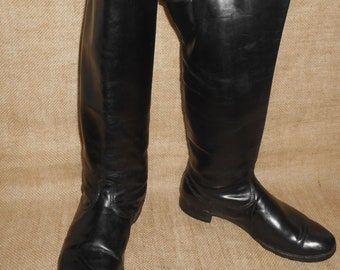 Vintage Soviet Russian Chrome Officer Riding Boots with straps  size 43 EU 44, US 10