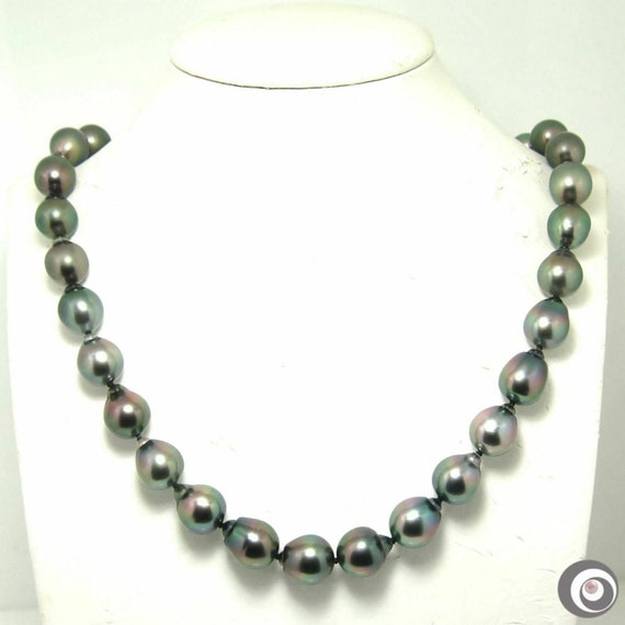 925 Sterling Silver Hand knotted clasp 12-12.5mm Smooth Beaded Crystal Necklace 18 Inch