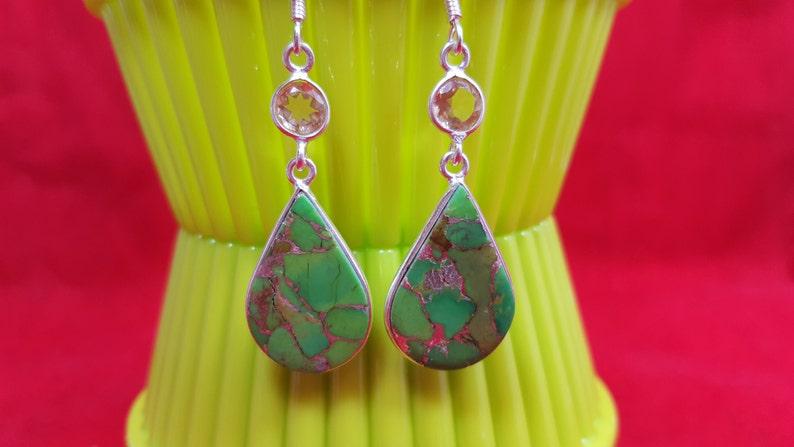 Sterling Silver Earrings.Green Silver Turquoise Earrings.Citrine Earring.Dangle Earrings.Wedding Earrings.Bridal Gifts.Handmade Earrings.E51