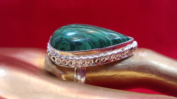 Sterling Silver Ring.Green Turquoise Ring.Gemstone Ring.Gifts.Engagement Ring.Handmade Ring.Solitaire Ring.Wedding Ring.Statement Ring.R221