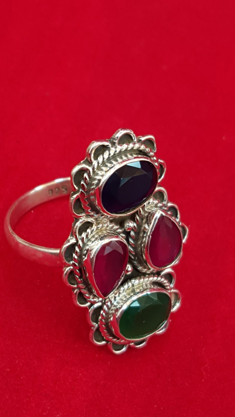 Sterling Silver Ring.935 Stamped Ring.Sapphire Ring.Emerald Ring.Ruby Ring.Antique Ring.Handmade Ring.Wedding Gifts.Statement.R91-100